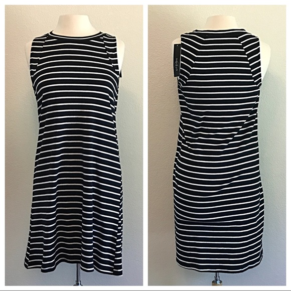 august silk Dresses & Skirts - August Silk Striped Black and White Dress